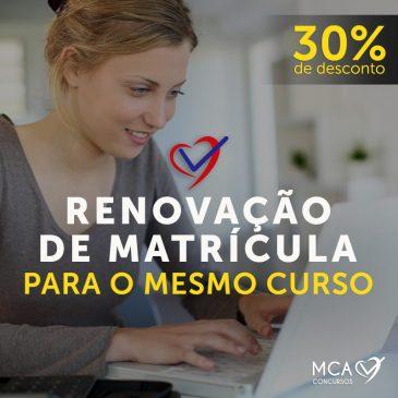 Renovação de Matrícula: 30% OFF