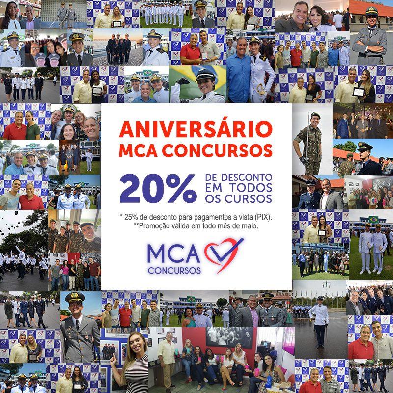 Imagem e Botão para desconto de 5% nos Cursos preparatórios do MCA Concursos Públicos